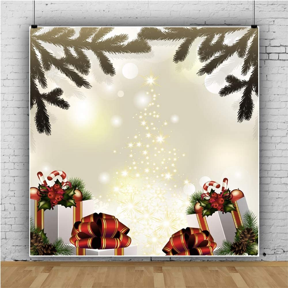 YEELE 10x10ft Magic Christmas Tree Lighting Backdrop Xmas Holiday Pictures Photography Background Kids Adults Portrait Child Xmas Show Photo Booth Photoshoot Props Digital Wallpaper