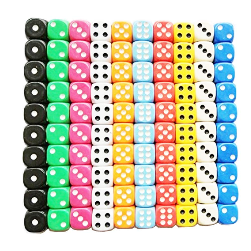 ANSTER100 Pieces Game Dice Set, 10 Colors Round Corner Dice Play Games Like Tenzi, Farkle, Yahtzee, Bunco or Teaching Math