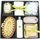 Earth & Sea Spa Essentials Bath Set-Soy Wax Candle, Cotton Bath Cloth, Exfoliating Sponge, Pumice Stone, Wooden Massager Brush, Salts, Bath Soap-Green Gift Set