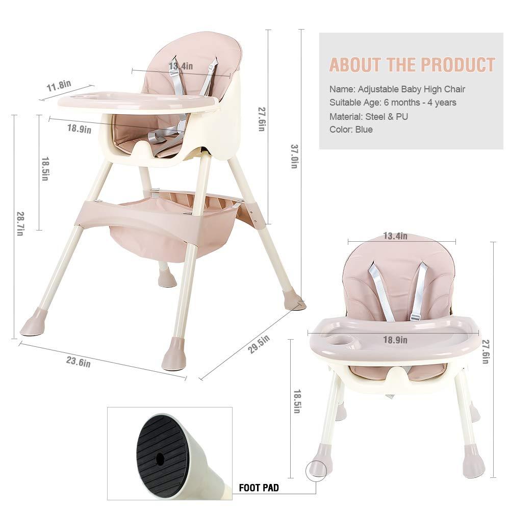 Trona para beb/é plegable y port/átil para ni/ños y ni/ñas con cinturones de seguridad de 5 puntos Azur bandeja extra/íble trona ajustable en altura