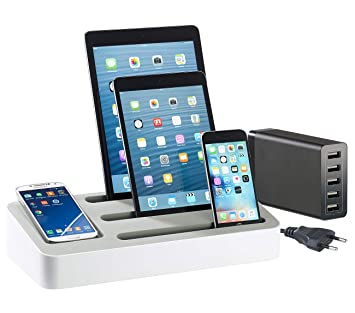 Callstel Ladestation: 4in1-Universal-Ladeständer für Tablets und  Smartphones (Ladestation Handy)