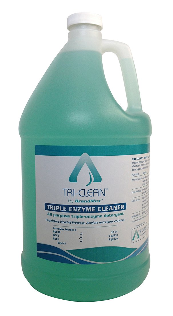 BrandMax BEC1 Tri-Clean Triple Enzymatic Cleaner, One gal Concentrate, Clean Green by BrandMax