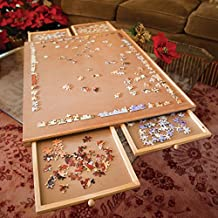 Bits and Pieces Standard Size Wooden Puzzle Plateau-Smooth Fiberboard Work Surface - Four Sliding Drawers Complete This Puzzle Storage System