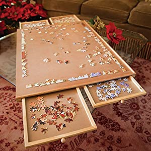 Bits and Pieces - Jumbo Size Wooden Puzzle Plateau-Smooth Fiberboard Work Surface - Four Sliding Drawers Complete This Puzzle Storage System - 61TOtOjnDcL - Bits and Pieces – Jumbo Size Wooden Puzzle Plateau-Smooth Fiberboard Work Surface – Four Sliding Drawers Complete This Puzzle Storage System