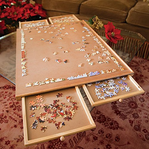 Bits and Pieces - Standard Size Wooden Puzzle Plateau-Smooth Fiberboard Work Surface - Four Sliding Drawers Complete This Puzzle Storage System