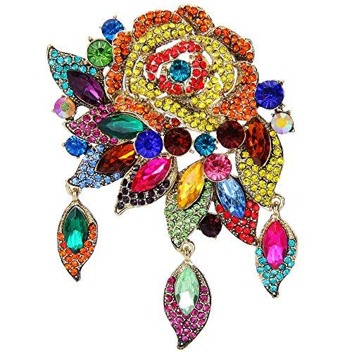 EVER FAITH Rose Flower Leaf Brooch Pendant Austrian Crystal Gold-Tone Multicolor ()