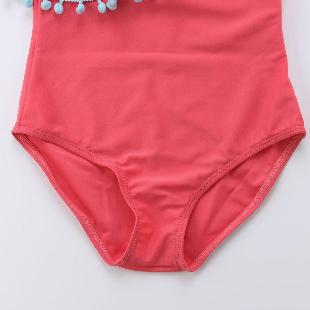 Lesimsam Mommy and Me One Piece Swimsuit Bathing Suit Family Matching One Shoulder Tassel Pompom Swimwear Beachwear