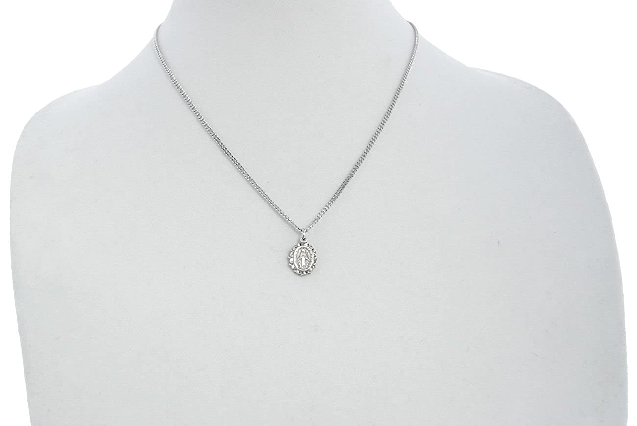 USA Made Chain Choice Best Quality Heartland Womens Sterling Silver Scallop Edge Miraculous Medal