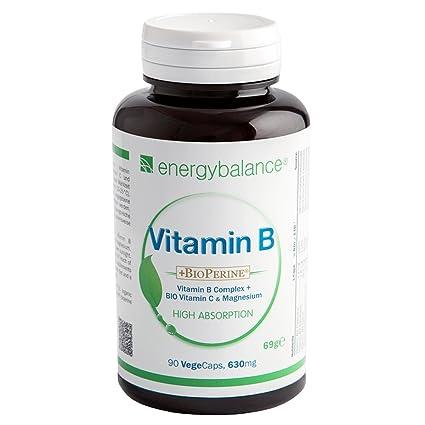 Complejo de vitamina B + Vitamina C Ecológica + BioPerina + Magnesio 630mg | Todas las