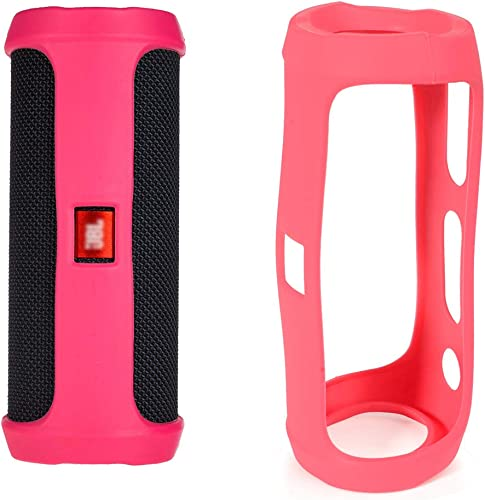 Alltravel Protective case for JBL FLIP4 Waterproof Portable Bluetooth Speaker, Tailor Made Portable Sound Through Design, Easy to go Super Strong Carabiner Pink