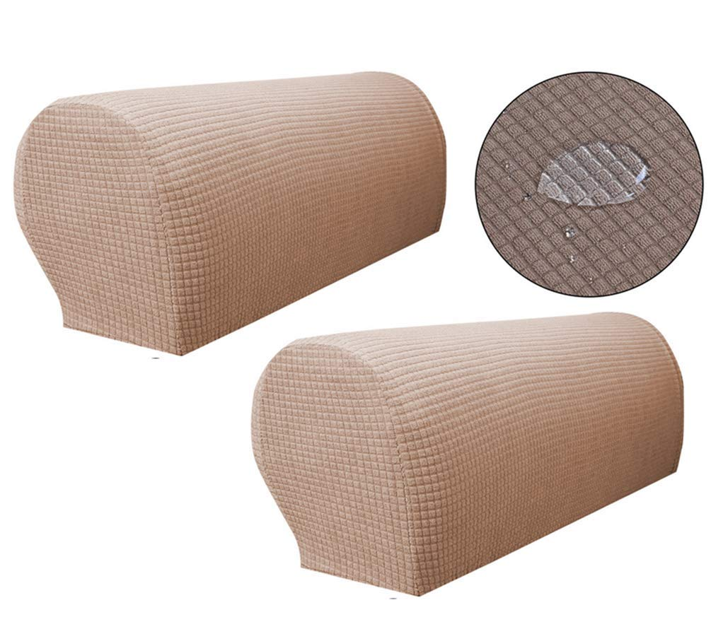 ZUODO Sand Colour Spandex Waterproof Sofa Arm Covers Stretch Arm Caps for Armchairs Non Slip Pair of Furniture Protector (Light Coffee)