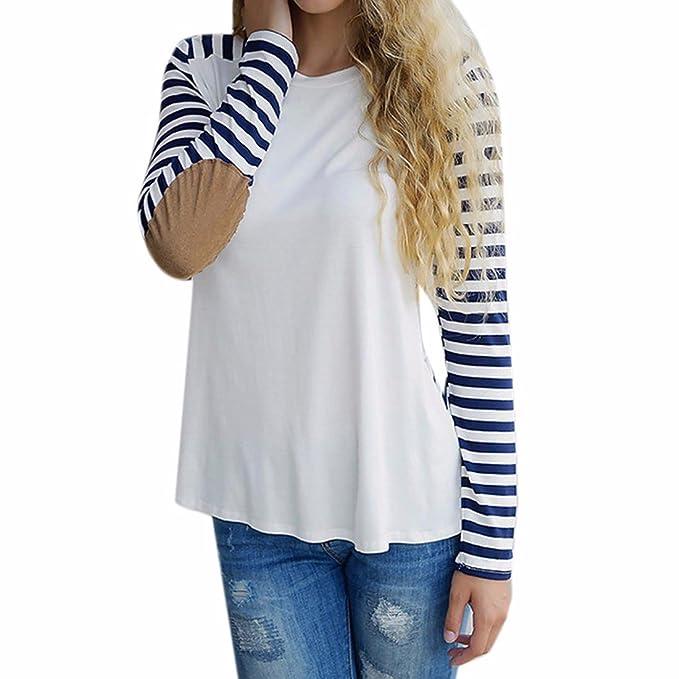 Z Las Mujeres Suelta Rayas Azules Manga Larga Blusa Brazo Coderas Camiseta Del Raglán