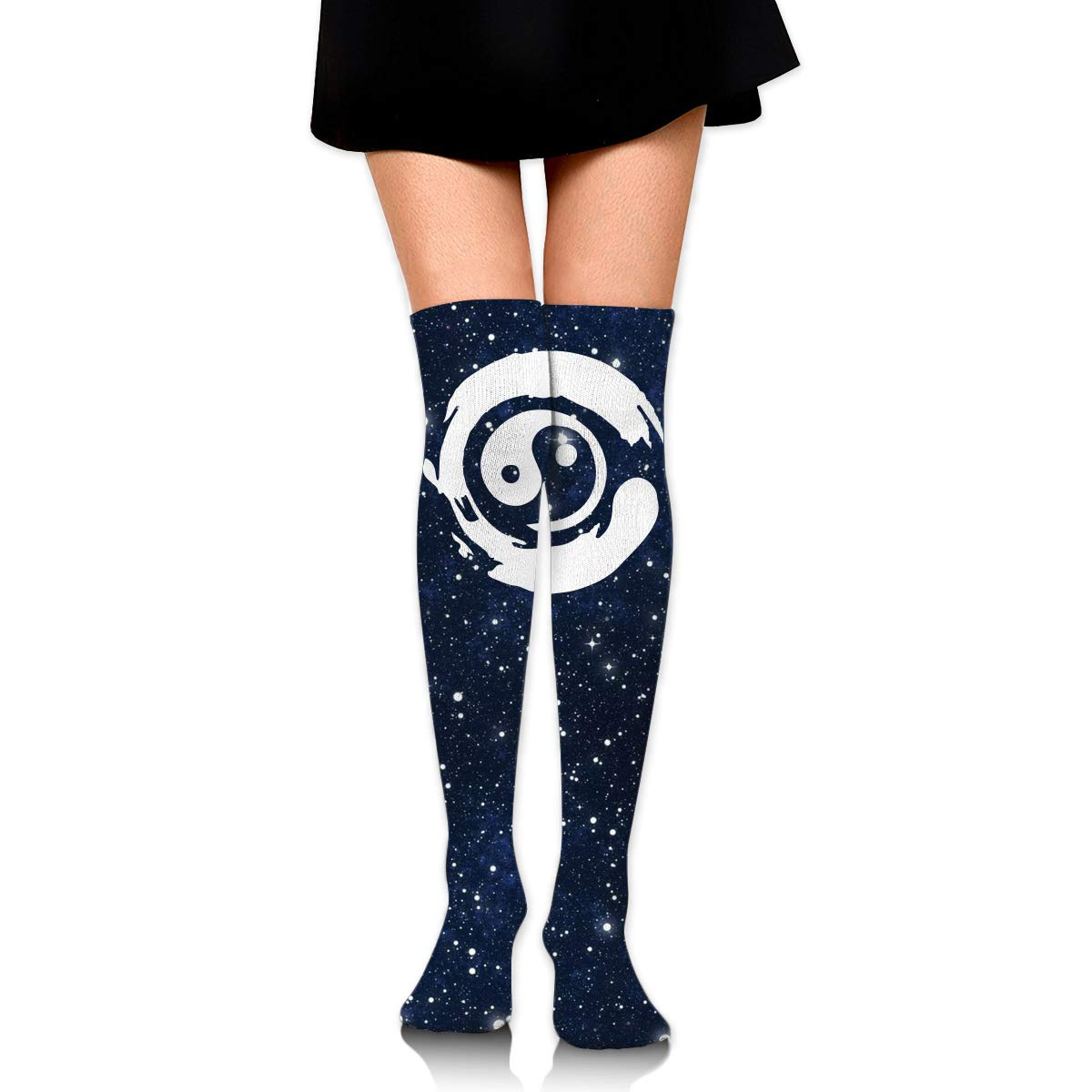 One Size Girls Womens Bonsai Tree In Yin Yang Over Knee Thigh High Stockings Cute Socks
