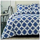 Superior Trellis Comforter Set with Pillow Shams, Luxurious & Soft Microfiber with Down Alternative Fill, Contemporary Geometric Trellis Design - Full/Queen Bedding Set, Navy Blue