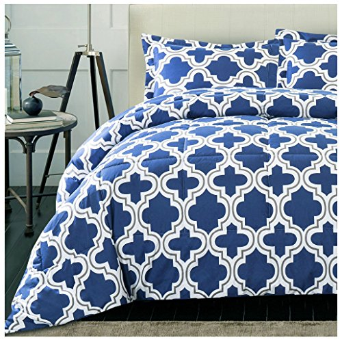 Superior Trellis Comforter Set with Pillow Shams, Luxurious & Soft Microfiber with Down Alternative Fill, Contemporary Geometric Trellis Design - Full/Queen Bedding Set, Navy Blue