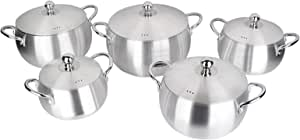 Almarhomy Cookware Set Of 10 Pieces,Stainless Steel,Silver,21-04-13-011