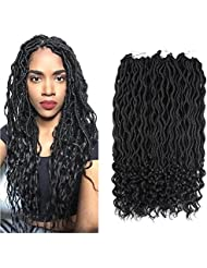 6Packs 18Inch Wavy Faux Locs with Curly End Crochet Braids Twist Hair 24Strands/Pack Synthetic Goddess Curly Faux Locs With Free End Crochet Braiding Hair Extensions (1B)