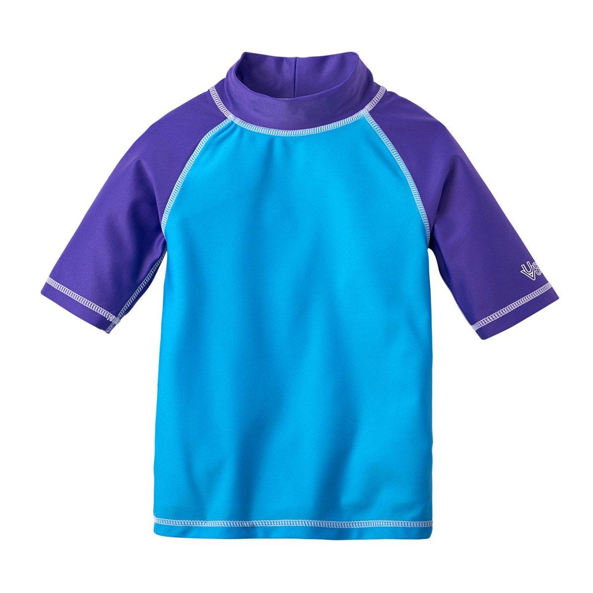 Fabric UPF 50 Mock Tee Neckline UV Skinz Girls Short Sleeve Sun /& Swim Shirt