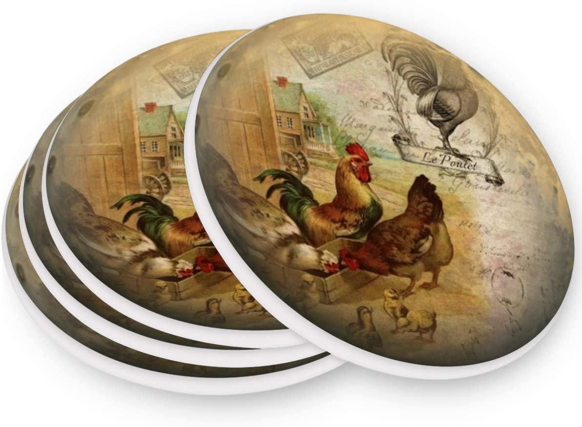 visesunny Vintage Rooster And Chick 3D Print Drink Coaster Moisture Absorbing Stone Coasters with Cork Base for Tabletop Protection Prevent Furniture Damage, 4 Pieces