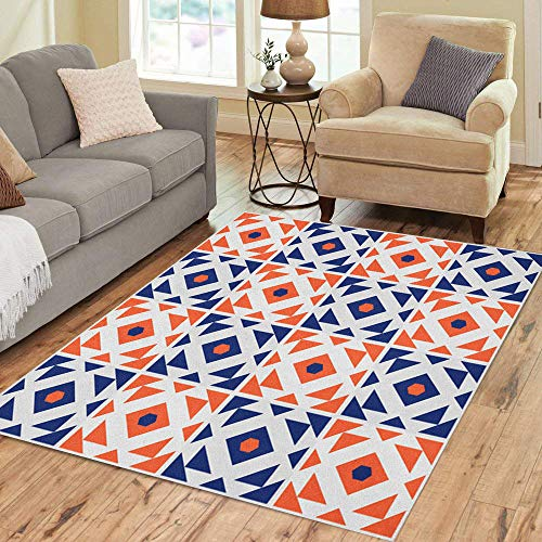 Semtomn Area Rug 2' X 3' Blue Morrocan Portugal Azulejos Inspired Abstract Orange Pattern Portugese Home Decor Collection Floor Rugs Carpet for Living Room Bedroom Dining Room