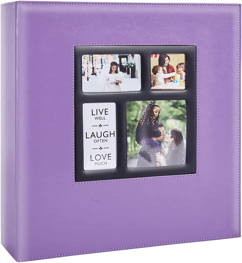 Artmag Photo Picutre Album 4x6 1000 Photos, Extra Large Capacity Leather Cover Wedding Family Photo Albums Holds 1000 Horizontal and Vertical 4x6 Photos with Black Pages (Purple)