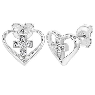 c1cc3c222278 In Season Jewelry - 925 Plata de Ley Circonita Clara Pequeño Abierto  Corazón Cruz Aretes para Niñas  Amazon.es  Joyería