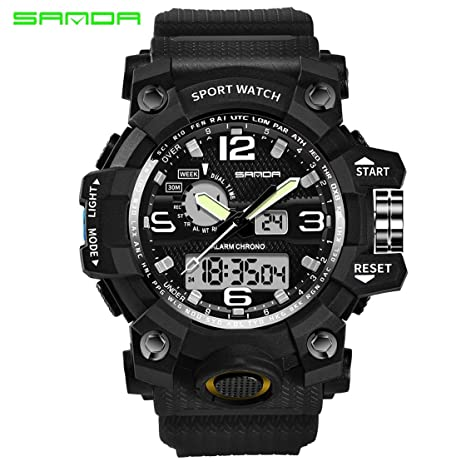 645767e986a4 Sanda 742 Reloj 30m Resistente al Agua Reloj de Pulsera de Cuarzo Militar  Luminous analógico Digital