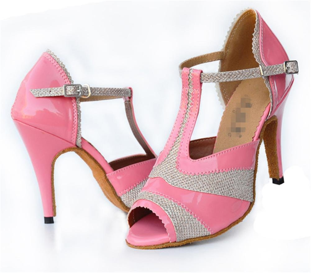 Frauen high heel Sandale salsa latin soles samba tango ballsaal leder wildleder soft soles latin gürtelschnalle t-strap dance schuhe pink B c806ac