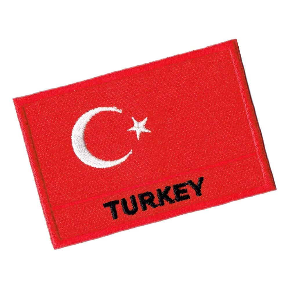 Parches Turkey Banderas Turqu/ía Banderines Iron On Patch Rep/ública Turqu/ía 7 x 5 cm Bancartas Bordado Lucky Patches