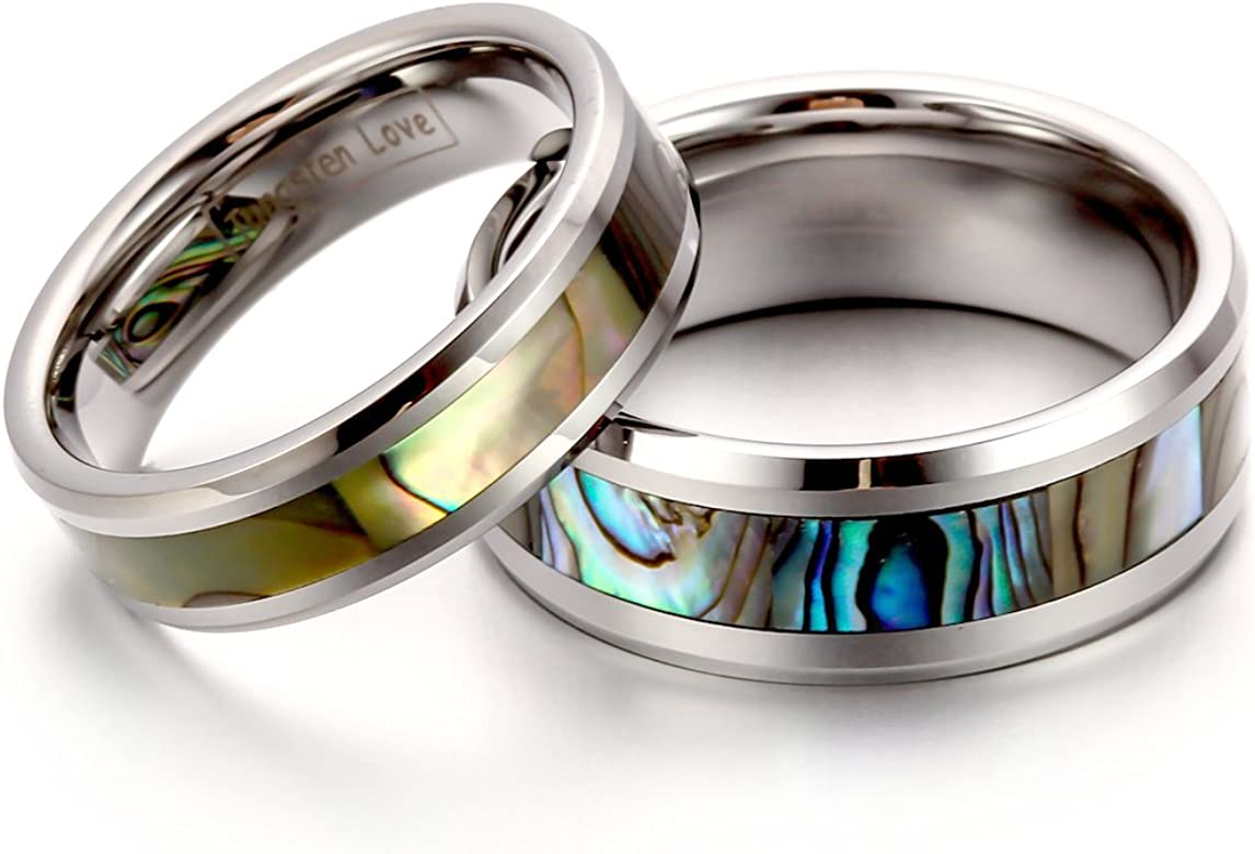 comfort fit Carbure de tungstène incrusté Hawaiian Koa Bois Avec Opal Ring 8 mm