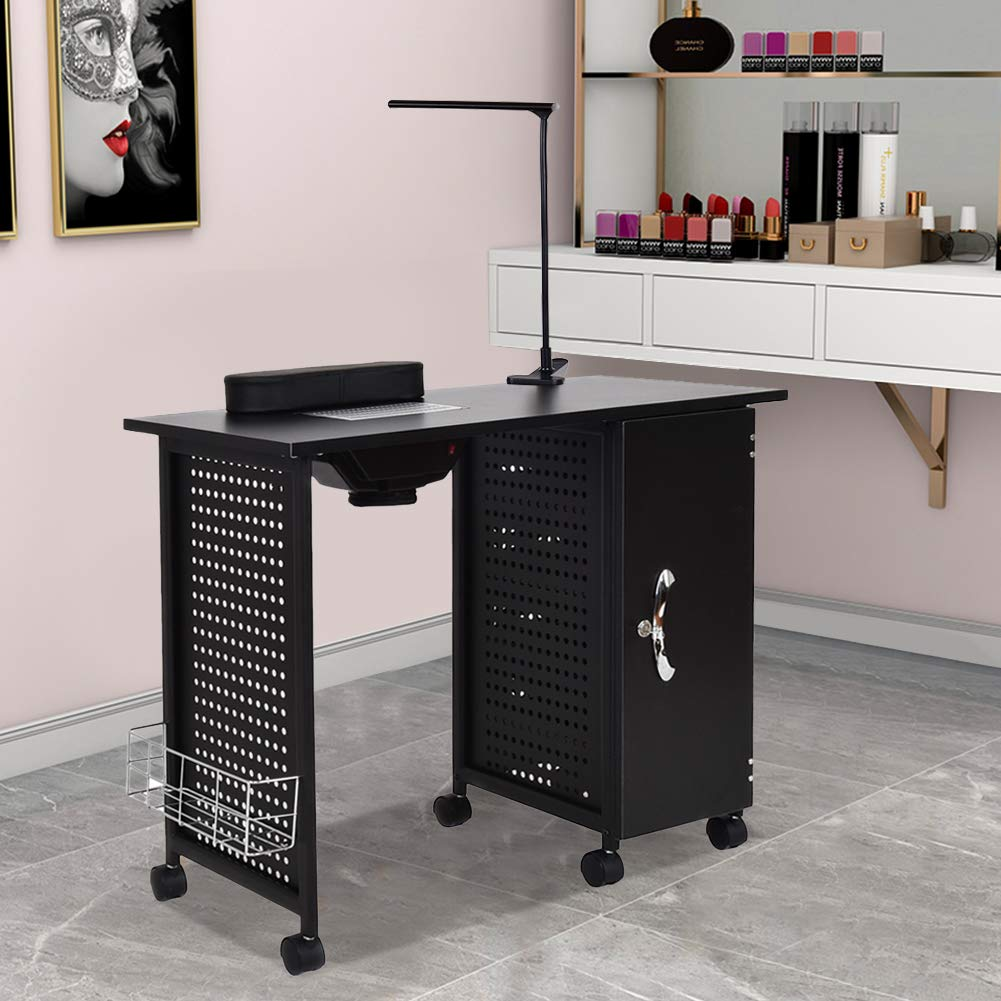 Manicure Nail Table,WaterJoy Steel Frame Nail Station Table Manicure Salon  Spa Table Nail Art Desk Workstation Beauty Salon Equipment Drawer with LED