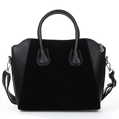 f015ebcd31448 FACILLA® Sac à Main Sacoche Bandoulière Epaule Croisé PU Noir Femme  Shopping OL 38x12x29cm