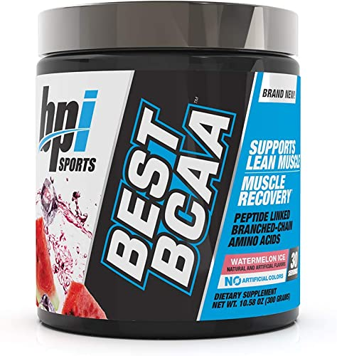 BPI Sports Best BCAA – BCAA Powder – Branched Chain Amino Acids – Muscle Recovery – Muscle Protein Synthesis – Lean Muscle – Improved Performance Hydration Watermelon Ice – 30 Servings – 10.58 oz.