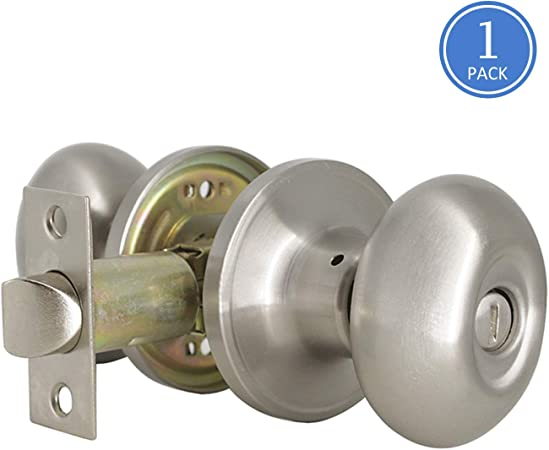 Kwikset Juno Privacy Door Knob Set Brushed Satin Nickel Locking Bedroom Bathroom