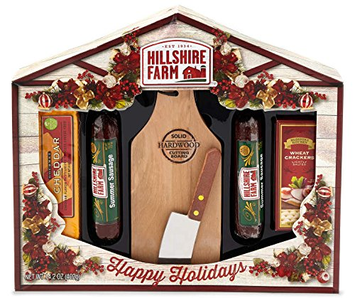 Hillshire Farm Meat, Cheese and Crackers Holiday Gift Set Summer Beef Sausage, Includes Solid Hardwood Cutting Board with Cutting Knife, Perfect for Gift Giving and Hostess House Warming Gifts