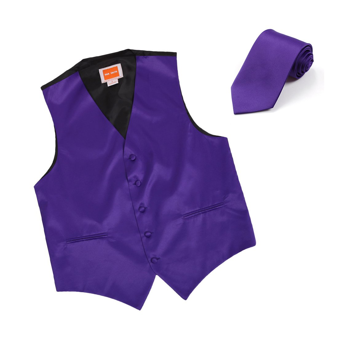 Dan Smith DGDE0002-L Dark Violet Plain Microfiber Husband Tuxedo Vests Satin for Wedding Vest Matching Neck Tie by