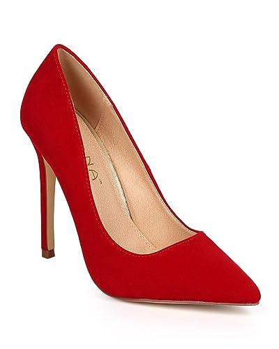 1cf9eb3d60d Women Velvet Pointy Toe Single Sole Classic Stiletto Pump DJ11 - Red Faux  Suede (Size