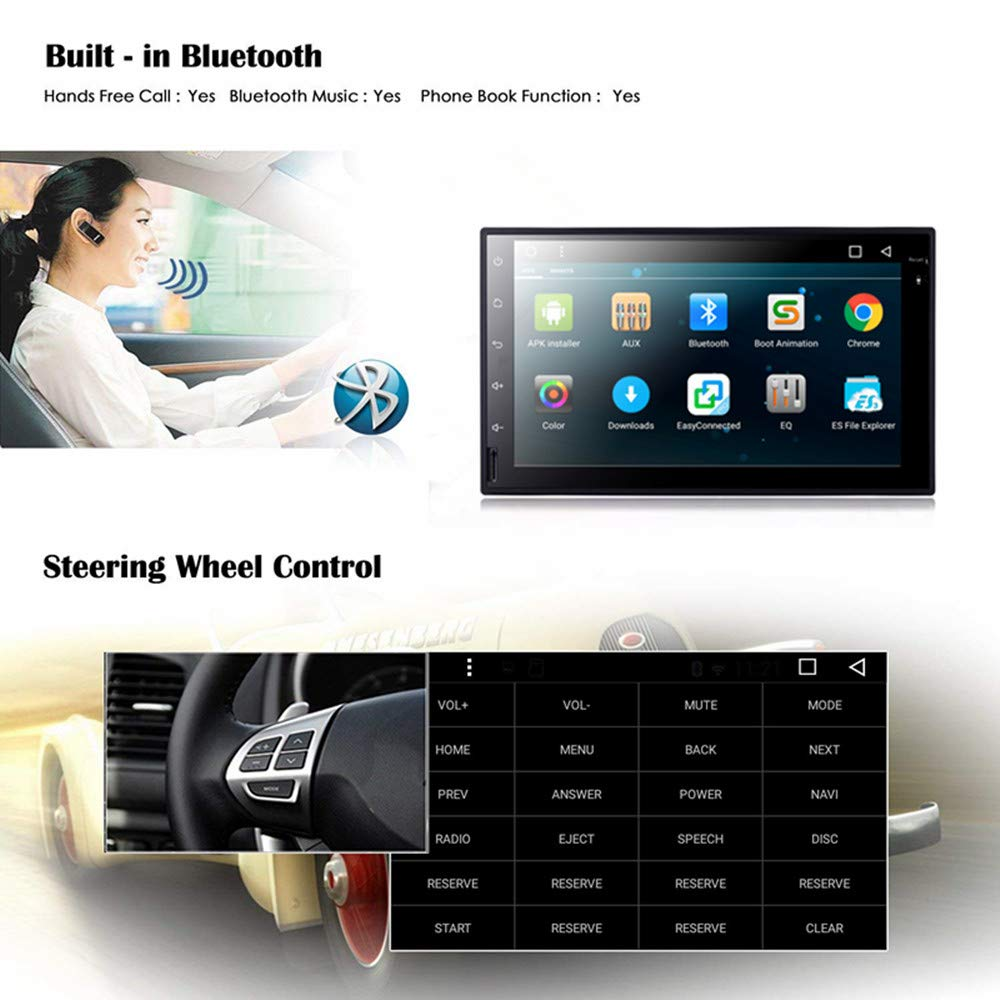 EHOTCHPOTCH Android 7.1 Double Din Car Stereo 2 Din Radio Backup Camera Touch Screen in Dash GPS Navigation with Bluetooth for Cars MYLTDZ
