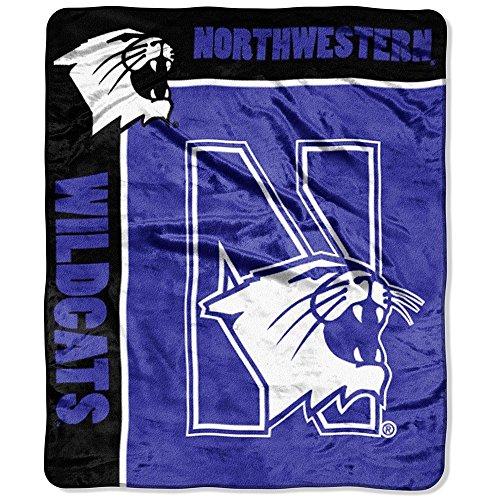 NCAA Northwestern Wildcats School Spirit Royal Plush Raschel Throw Blanket, 50x60-Inch