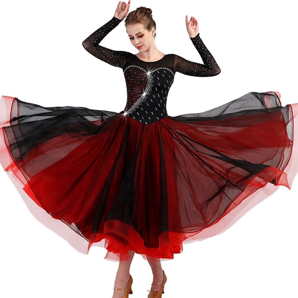 当社の 長袖の現代ダンスの競争の衣装社交ダンスのスカートラインストーン社交のドレス B07QZ2VYC5 Xl xl|ブラック/レッド B07QZ2VYC5 ブラック Xl/レッド xl Xl xl, 更別村:1ce27d7c --- a0267596.xsph.ru