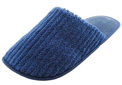 KS Brands Homme Côtelée en Tissu Éponge Dos Ouvert Chaussons Mule - Bleu - Bleu  Marine 67268ff8fe2a