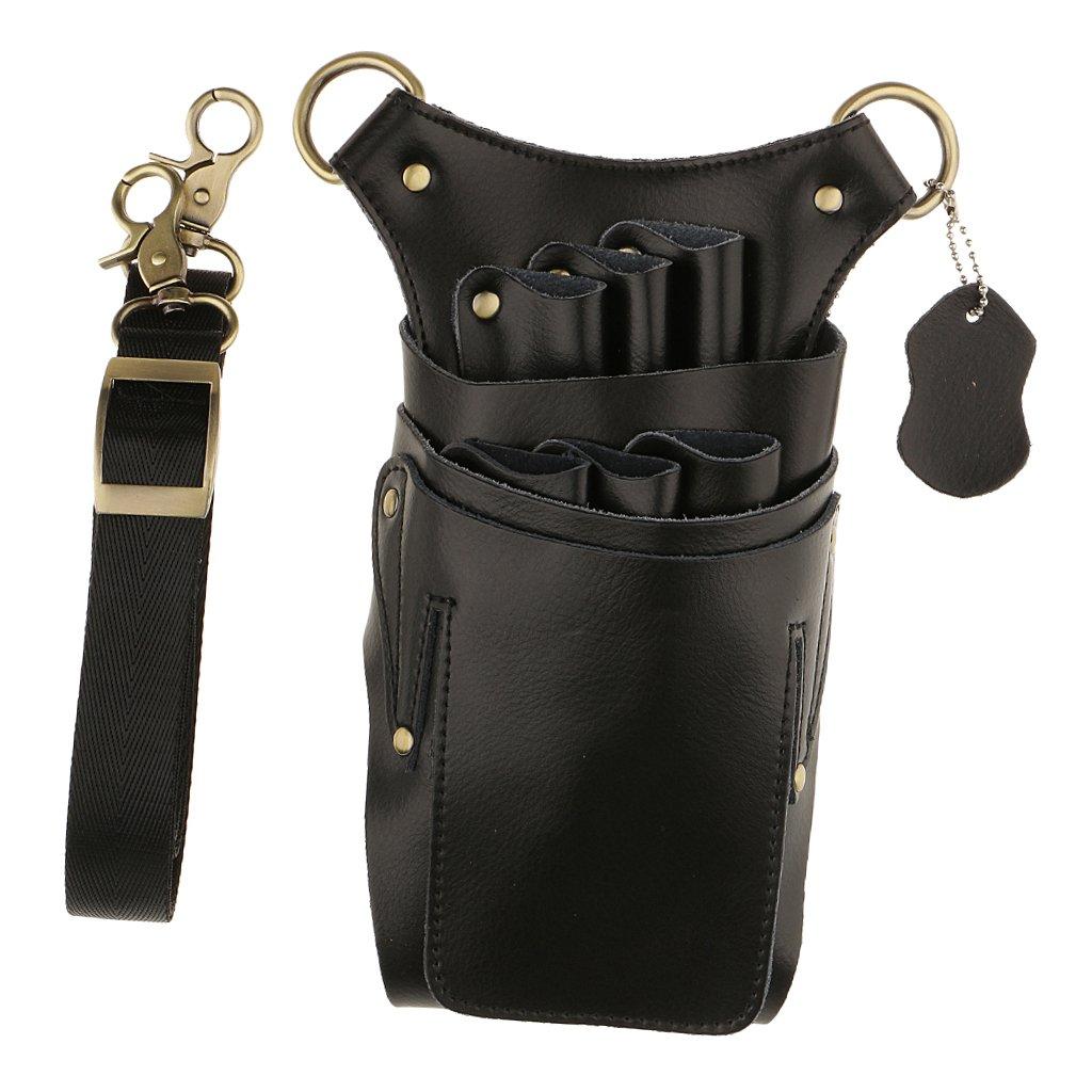 Baoblaze Salon Leather Rivet Scissors Combs Clips Tools Holder Bag Hairdressing Holster Pouch Barber Waist Shoulder Belt Case - Black, as described
