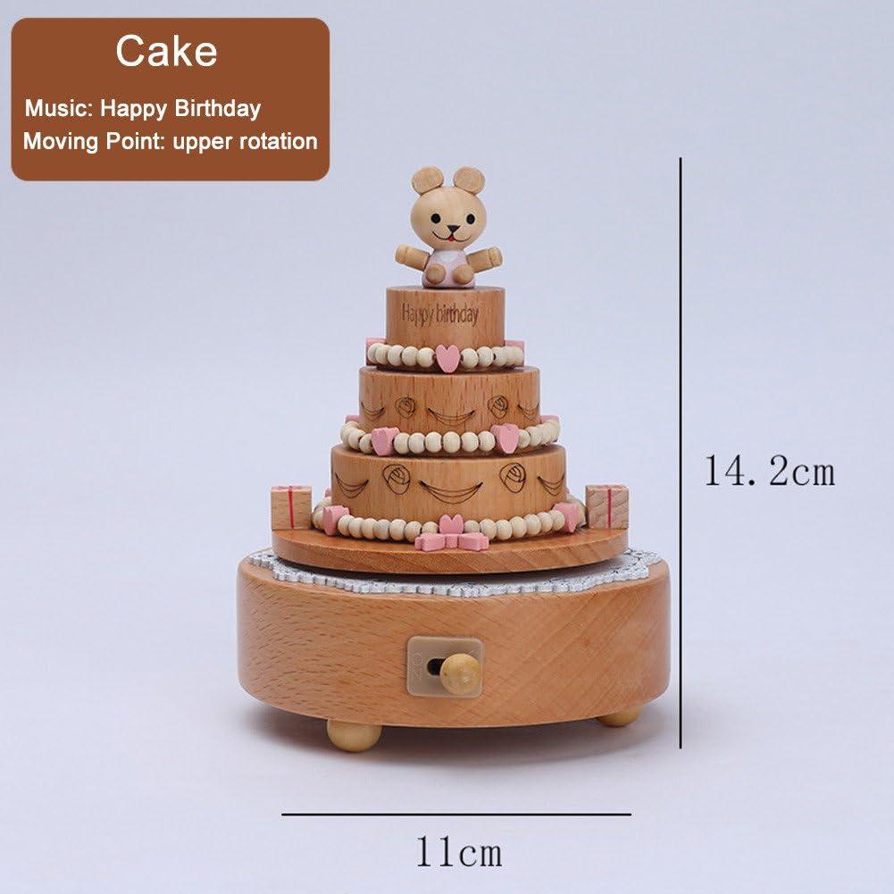 Pleasing Yunhigh Music Box Wooden Happy Birthday Cake Figurine Wind Up Birthday Cards Printable Benkemecafe Filternl