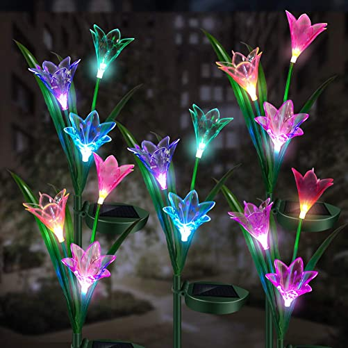 Solar Flower Lights Outdoor Lily Light LED Multicolor Landscape Light Automatically Turns On Off, for Garden Backyard Tombstone Decorative Lights 5 Pack
