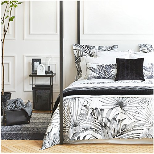 Eikei Modern Vintage Retro Mod Print Bedding Egyptian Cotton Duvet Cover Set Minimalist Chic Botanical Design Asian Zen Style Reversible Pattern in Full Queen or King Size (King, Black and ()