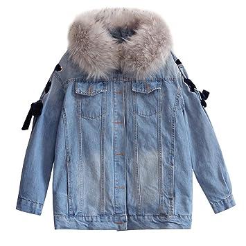 TT&NIUZAIKU Abrigo de invierno mujer más abrigo de terciopelo grueso / algodón denim de cuello /