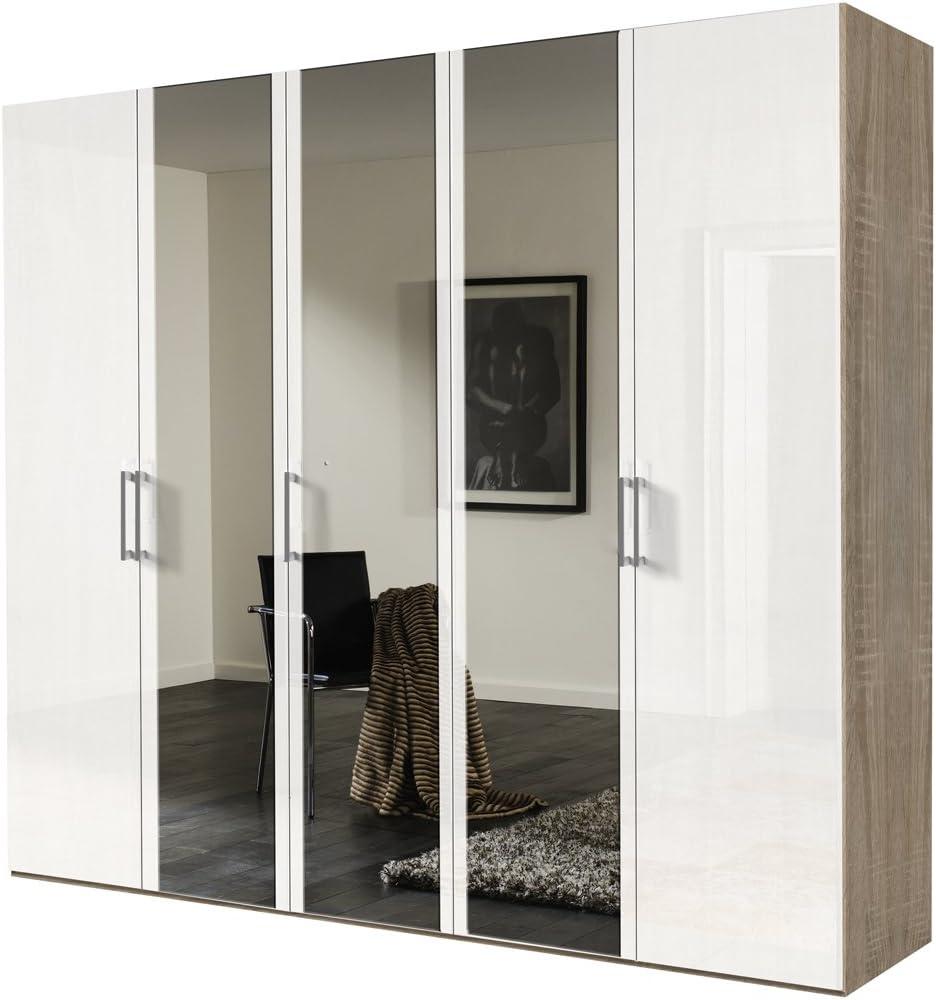 Soluciones Blanco 17290 Barniz – Puerta corredera Armario, 5 Puertas, Madera de Roble Sonoma, Panel Frontal, Espejo: Amazon.es: Hogar