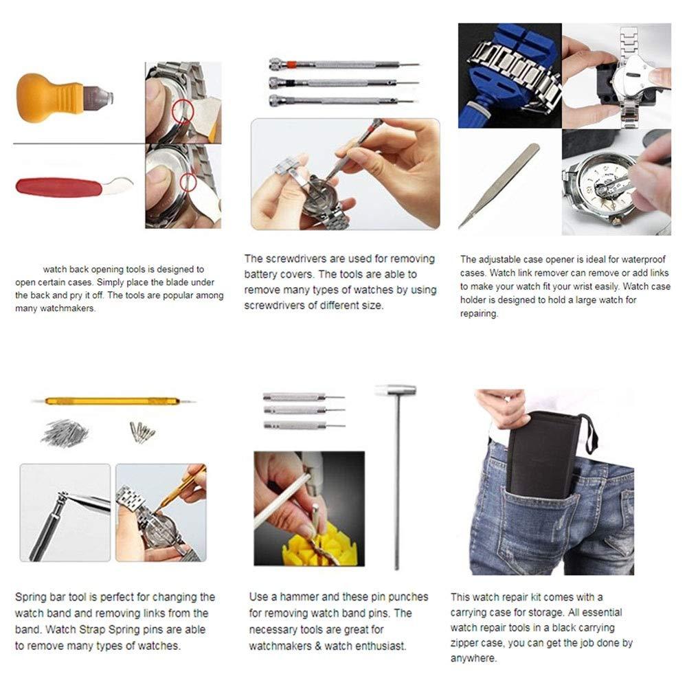 Amazon.com: 147 PCS Watch Repair Tool Kit Case - Opener Professional Spring Bar Tool Set Bonus A Hammer,Watch Band Link Pin Tool Set with Carrying Case: ...