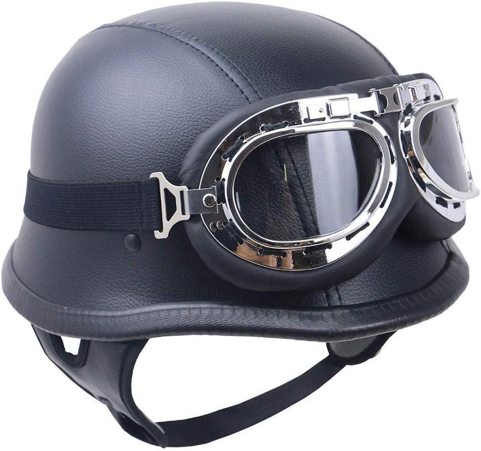 Skyout Motorrad halbes Helm Offenem Gesicht Retro-Helm Motorrad-Helm PU-Leder mit Brille DOT-Zulassung f/ür M/änner und Frauen