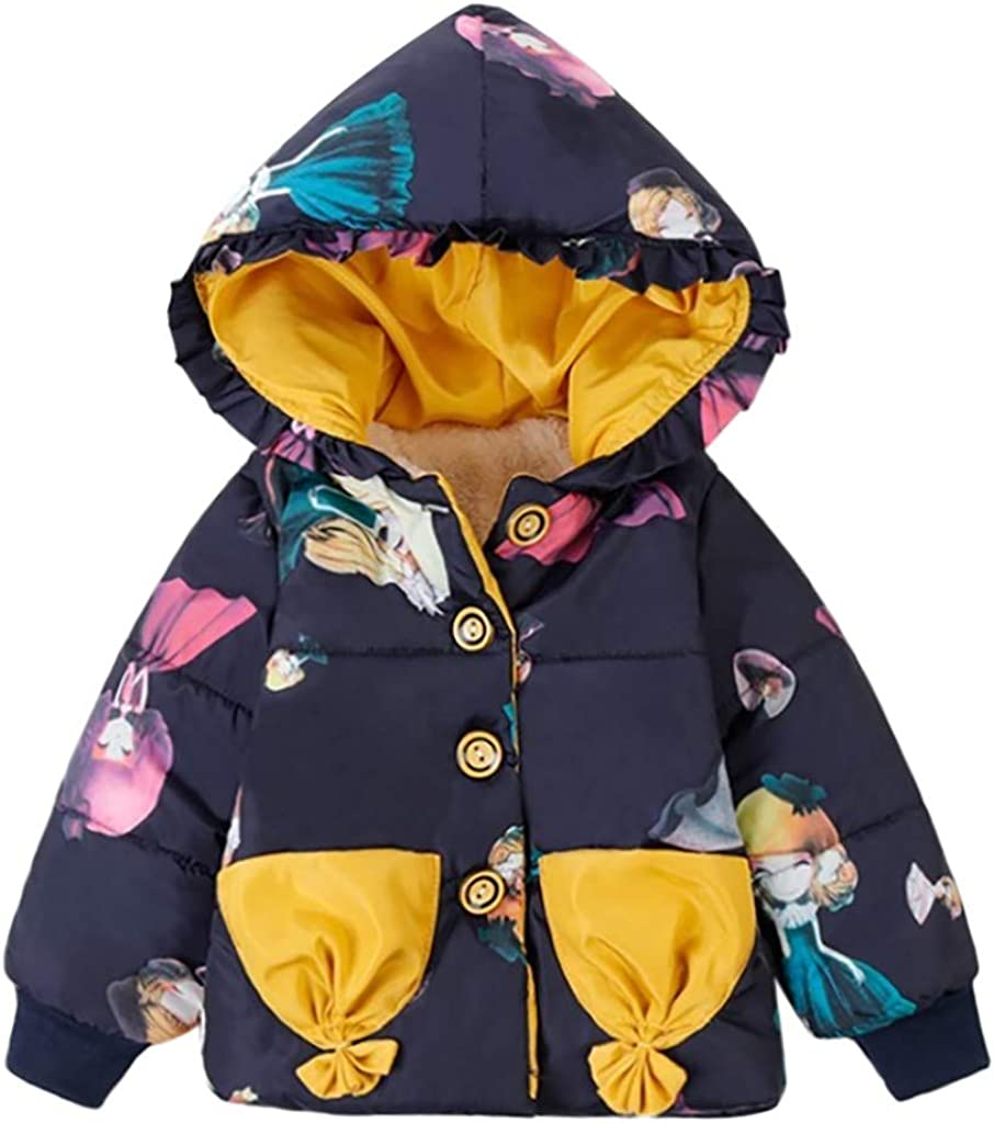 Baby Girls Winter Hooded Coat Floral Warm Jacket Thick Outerwear Clothes 6 9 Months